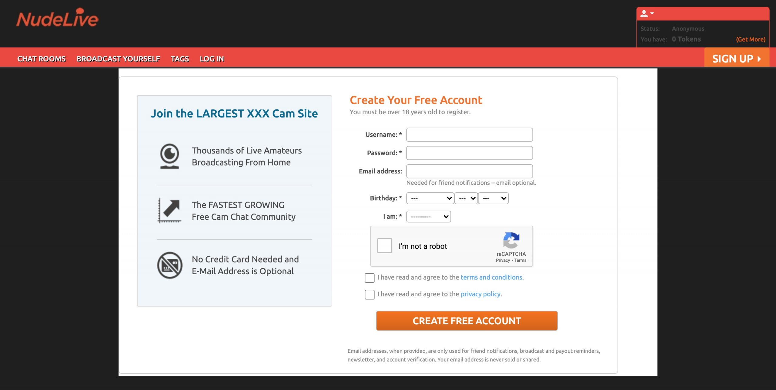 Nudelive create account